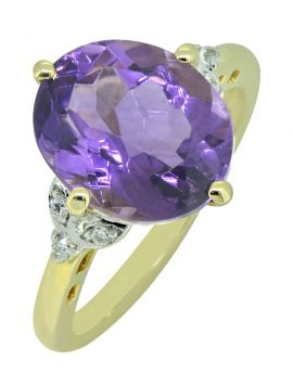 Oval Purple Amethyst 925 Sterling Silver 18k Gold Plated Gemstone Ring