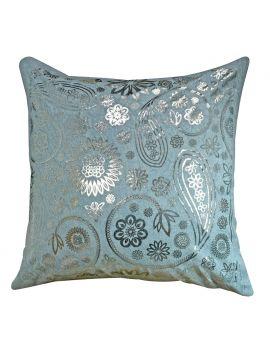 "Paisley Metallic Silver Foil Print Poly Filled Throw Pillow   20"" x 20"", Grey"