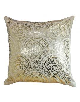 """Metallic Mandala Gold Foil Print Poly Filled Throw Pillow  20"""" x 20"""", Tan"""