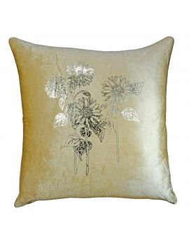 "Metallic Floral Foil Print Velvet Poly Filled Throw Pillow  20"" x 20"", Beige"
