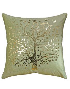 "Tree of Life Gold Foil Print Velvet Poly Filled Throw Pillow  20"" x 20"", Green"