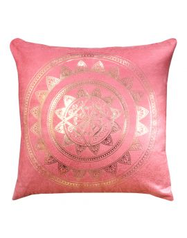 "Metallic Gold Foil Print Velvet Poly Filled Throw Pillow  20"" x 20"",  Peach"