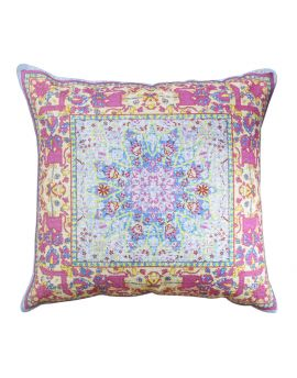 """Purple Floral Persian Bohemian Style Poly Filled Throw Pillow  20"""" x 20"""""""